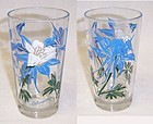 Unknown Maker PEANUT BUTTER 5 In Blue White COLUMBINE Glass