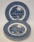 Royal China CURRIER and IVES 6 3/8 Inch DESSERT PLATES, Set of 5