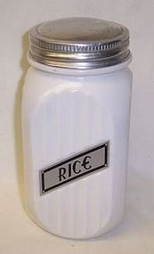 Hocking Vitrock White 20 Ounce RICE CANISTER, Original Metal Lid