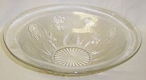 Jeannette Crystal IRIS and HERRINGBONE 11 Inch SMOOTH EDGE BOWL