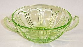 Hocking Green COLONIAL KNIFE and FORK 2 Handled CREAM SOUP BOWL