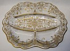 Cambridge Gold Encrusted ROSE POINT 3400/67 5 Part RELISH DISH