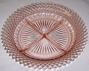 Hocking Pink MISS AMERICA 8 3/4 Inch 4 Part RELISH DISH