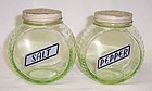 Diamond Crystal Salt Translucent Green SALT and PEPPER Shakers