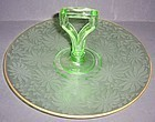 Jeannette Glass Green BROCADE 9 1/2 Inch CENTER HANDLED TRAY