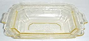 Indiana Glass Yellow LORAIN BASKET 9 1/2 Inch OVAL BOWL