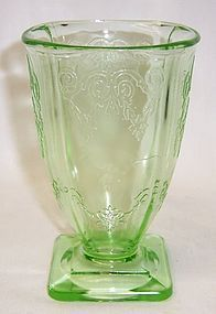 Indiana Glass Green LORAIN BASKET 615 4 3/4 Inch 9 Oz FOOTED TUMBLER