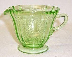Federal Depression Glass Green PARROT SYLVAN CREAMER
