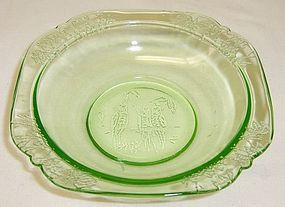 Federal Depression Glass Green PARROT SYLVAN 5 Inch BERRY BOWL