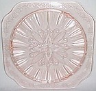 Jeannette Pink ADAM Depression Glass 10 In Square Ftd CAKE PLATE