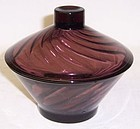 Hazel Ware Glass Amethyst MOROCCAN Low CANDY DISH with LID