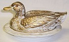 Westmoreland Glass Antique Gold DUCK on WAVY BASE Candy Dish