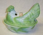Westmoreland Green Slag 8 Inch HEN on Basket Weave BASE, Orig. Label