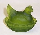 Westmoreland Green Miss 3 1/2 Inch HEN on Basket Weave Nest