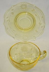 Lancaster Depression Glass Yellow JUBILEE CUP and SAUCER