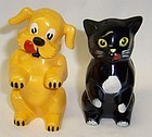 F&F Plastic 3 1/4 Inch Ken-L-Ration CAT and DOG SALT and PEPPER, Pair
