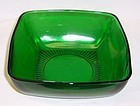 Anchor Hocking Fire King Forest Green CHARM 7 3/8 Inch SQUARE BOWL