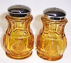 Fostoria Glass Amber COIN SALT and PEPPER Shakers, Original Lids