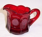 Fostoria Ruby Red COIN 3 1/2 Inch Flat Milk CREAMER or CREAM PITCHER