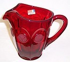 Fostoria Ruby Red COIN 32 Ounce 6.6 Inch High Flat WATER PITCHER