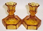 Fostoria Amber COIN 4 1/2 Inch High Short Stem CANDLE HOLDERS, Pair