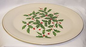 Lenox Ivory CHRISTMAS HOLLY Special 16 Inch OVAL Serving PLATTER
