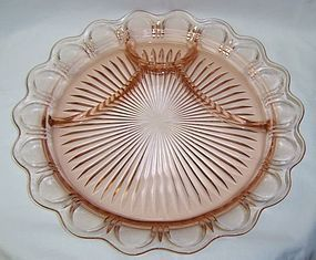 Hocking Pink OLD COLONY LACE EDGE 12 3/4 Inch 4 Part CLOSED LACE PLATE