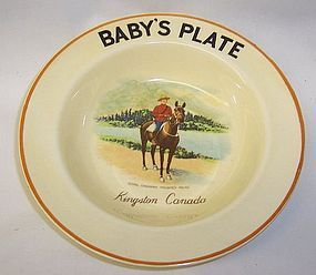 Dovey Pottery England ROYAL CANADIAN MOUNTED POLICE BABY PLATE