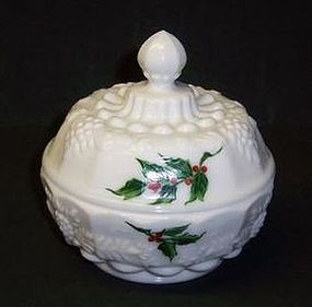 Westmoreland Milk Glass Paneled Grape HOLLY PUFF BOX with LID