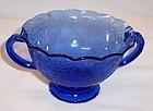 Hazel Atlas Cobalt FLORENTINE No. 1 POPPY No. 1 Ruffled SUGAR BOWL