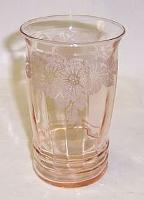 MacBeth Evans Glass Pink DOGWOOD 5 Inch 12 Ounce ICE TEA TUMBLER