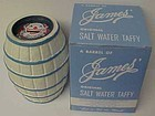 JAMES CANDY CO. Paper Mache BARREL BANK, Original Box