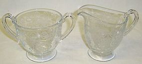 Fostoria Crystal ROMANCE CREAMER and SUGAR BOWL Set