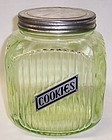 Anchor Hocking Translucent Green RIBBED COOKIE JAR, Original Lid