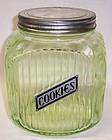 Anchor Hocking Translucent Green RIBBED COOKIE JAR, Original Lid