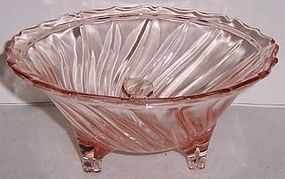 Jeannette Depression Glass Pink SWIRL 3 Leg Open CANDY DISH