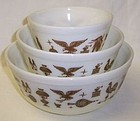 Pyrex White AMERICAN HERITAGE 3 Piece MIXING BOWL Set