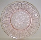 Jeannette Depression Pink FLORAL POINSETTIA 8 Inch SALAD PLATE
