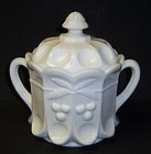 Westmoreland Milk Glass CHERRY and CABLE Handled COOKIE JAR with LID