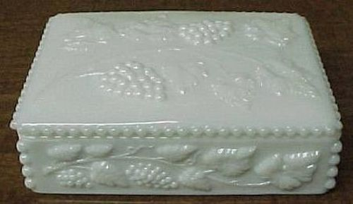 Westmoreland Milk Glass BEADED GRAPE CIGARETTE BOX with LID