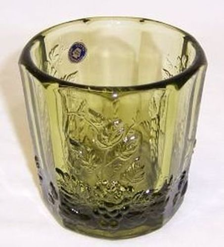 Westmoreland Olive Green PANELED GRAPE 3 1/4 In OLD FASHIONED TUMBLER