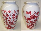 Anchor Hocking VITROCK 9 Inch High Red BIRD and FLOWER VASE