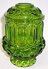 Smith Glass Green MOON and STARS 7 1/4 Inch 2 Piece CANDLE LAMP