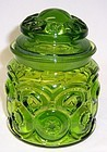 Smith Glass Green MOON and STARS Small CANISTER JAR with LID