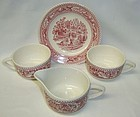 Royal China Pink MEMORY LANE 6 Inch DESSERT PLATE, CREAMER, 2 CUPS