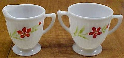 MacBeth Evans Florette PETALWARE Footed CREAMER and SUGAR BOWL