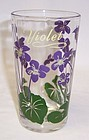 Vintage PEANUT BUTTER 5 Inch Glass - PURPLE VIOLETS Top Lettering