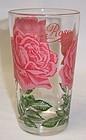 Vintage PEANUT BUTTER 5 Inch Glass - Pink ROSE Lettering Top Script
