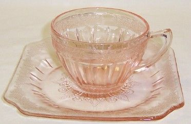 Jeannette Pink ADAM Depression Glass CUP and SAUCER