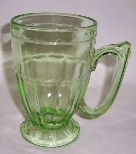 Jeannette Translucent Green 5 1/2 Inch Handled Number 516 MUG-Scarce